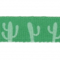 Printed ribbon/braid tropical theme 10 mm Green Cactus x1m