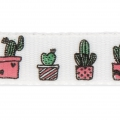 Printed ribbon/braid tropical theme 10 mm Cactus x1m