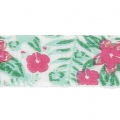 Printed ribbon/braid tropical theme 10 mm Flowers /White/Pink/Green x1m
