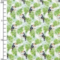 Cotton fabric - Tropical  - Monstera leaves and Toucan x10xm