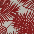 Cotton fabric linen look - Tropical - Palm leaves - Red x10cm