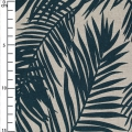 Cotton fabric linen look - Tropical - Palm leaves - Dark Blue x10cm
