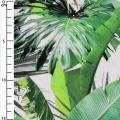 Cotton fabric linen look - Tropical - Palm and Monstera leaves x10cm