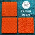 3 stamps for polymer clay/clay 49x49 mm Fish Scales