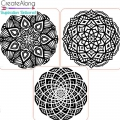 3 stamps for polymer clay/clay 49x49 mm Mandalas