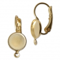 Earwire/leverback with cabochon setting for 8 mm flat back cabochon - Gold Tone x2
