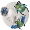 Mini silicone mold for polymer clay and metal paste - Beetle x1