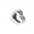 925 sterling silver 7 mm slider bead with 2 holes of 1.3 mm each - Heart x1