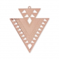 Metal triangle pendant ethnic decoration 45 mm Rose Gold Tone x2