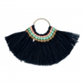 Fan pendant with cotton tassels 80x55 mm Navy Blue/Gold Tone x1