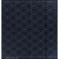Fabric coupon for Sashiko embroidery - 31x31 cm - Navy Blue sea and waves