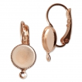 Earwire/leverback with cabochon setting for 8 mm flat back cabochon - Rose Gold x2