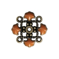 Metal clover spacer with epoxy resin 4 loops 14 mm Bronze Tone/Mustard x1