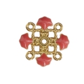 Metal clover spacer with epoxy resin 4 loops 14 mm Gold Tone/Pink Coral x1