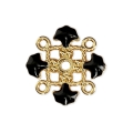 Metal clover spacer with epoxy resin 4 loops 14 mm Gold Tone/Black x1