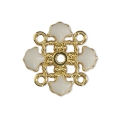 Metal clover spacer with epoxy resin 4 loops 14 mm Gold Tone/White x1