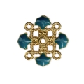 Metal clover spacer with epoxy resin 4 loops 14 mm Gold Tone/Petrol x1