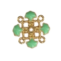 Metal clover spacer with epoxy resin 4 loops 14 mm Gold Tone/Mint x1