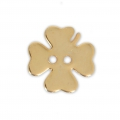 Smooth Button 12 mm - Clover - Gold tone x1