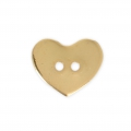 Smooth Button 12x10 mm - Heart - Gold tone x1