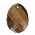 Oval Faceted gemstone Pendant 20x15 mm Tiger's eye x1