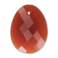 Oval Faceted gemstone Pendant 20x15 mm Dyed Red Agate x1