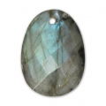 Oval Faceted gemstone Pendant 20x15 mm Labradorite x1