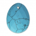 Oval Faceted gemstone Pendant 20x15 mm Imitation Turquoise x1