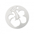 925 Sterling Silver Hibiscus Sequin 10 mm x1