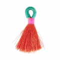 Long nylon tassel with fastener 4 cm Red Coral x1