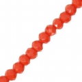 Faceted flat round beads 3x2 mm Coral x35cm