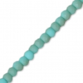 Faceted flat round beads 3x2 mm Turquoise Frosted x40cm
