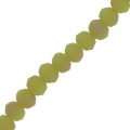 Faceted flat round beads 3x2 mm Pale Green Frosted x45cm
