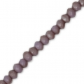 Faceted flat round beads 3x2 mm Medium Purple Frosted x40cm