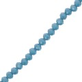 Faceted flat round beads 3x2 mm Teal Frosted x40cm