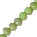 Faceted flat round beads 4x3 mm Light Pale Green Frosted x50cm