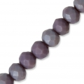 Faceted flat round beads 4x3 mm Dark Purple Frosted x50cm