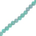 Faceted flat round beads 4x3 mm Light Turquoise Frosted x50cm