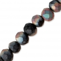 Faceted flat round beads 4x3 mm Black Plated Frosted AB x48cm