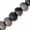 Faceted flat round beads 6x4 Black Plated Frosted x40cm