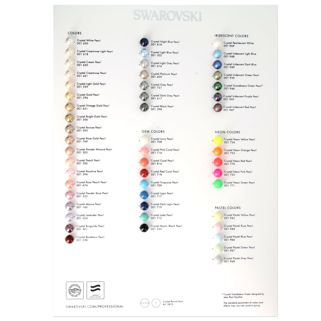 Swarovski Crystal Pearls Color Chart 2017 Pearls Perles Co