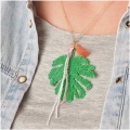 Made by me Brick Stitch Kit to make a Philodendron Leaf necklace