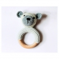 Perforated wooden teething ring 70 mm for baby rattle with crochet amigurumi x1