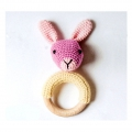 Wooden teething ring 70 mm for baby rattle with crochet amigurumi x1