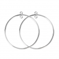 925 Sterling Silver Earring hoops / spacer 35 mm x2