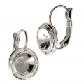 Leverback Earrings for Swarovski 1028/1088 8 mm and weaving - Rhodium x2