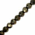 Round faceted beads 4 mm Gemstone Pyrite x36cm