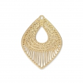 Laser cut navette shape smooth and striated pendants 20x15 mm - Gold Tone x2