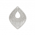 Laser cut navette shape smooth and striated pendants 20x15 mm - Rhodium Tone x2