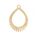Laser cut drop shape pendants for jewelry creation 22x16 mm - Gold Tone x2